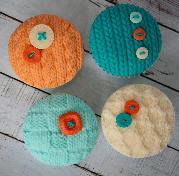 knitted cupcakes- knit embossed cake - button knitting cupcakes- Ellam Sugarcraft Moulds For Fondant Or Chocolate