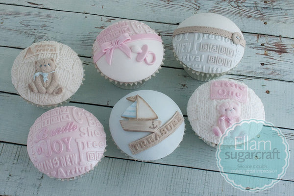 Basket Knit baby shower cupcakes christening cakes embossing Mat Silicone Mould - Ellam Sugarcraft Moulds For Fondant Or Chocolate