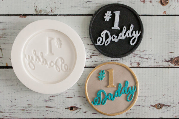 Number 1 Daddy, Fathers Day cupcake topper  Silicone cupcake craft cake Mould 58mm - Ellam Sugarcraft Moulds For Fondant Or Chocolate