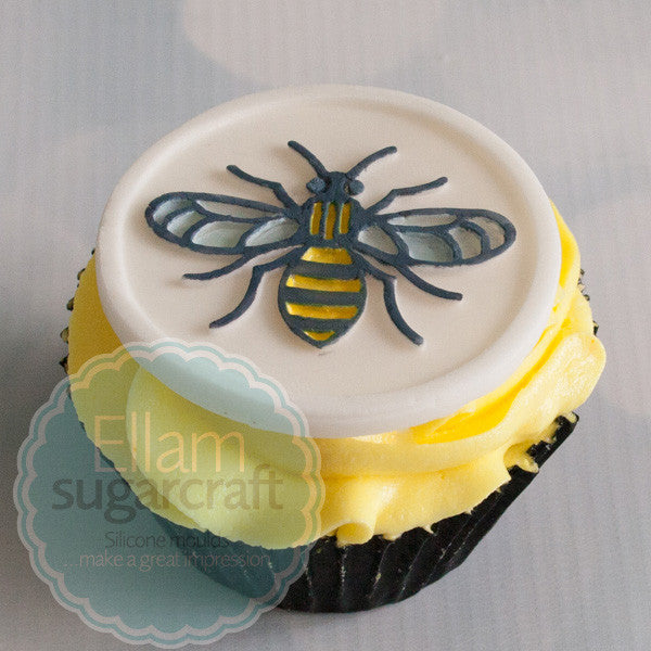 Manchester Bee cupcake- worker bee cake topper -Silicone cupcake cake craft Mould 58mm - worker bee cupcake - Ellam Sugarcraft Moulds For Fondant Or Chocolate