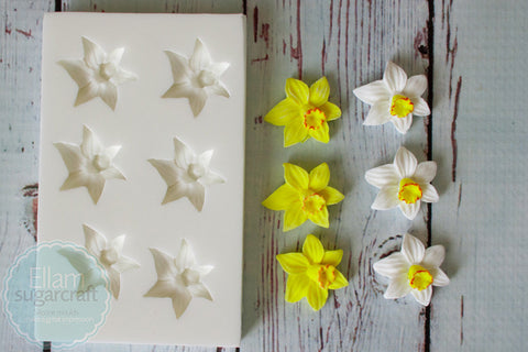 Small  Spring Daffodil 6 Cavity Repeat Flower Silicone Mould - ellamsugarcraft