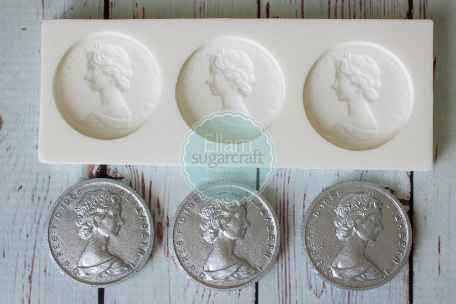 Queen Elizabeth Coin mould -   Pirate treasure Silicone Mould - Ellam Sugarcraft cupcake cake craft Moulds For Fondant Or Chocolate
