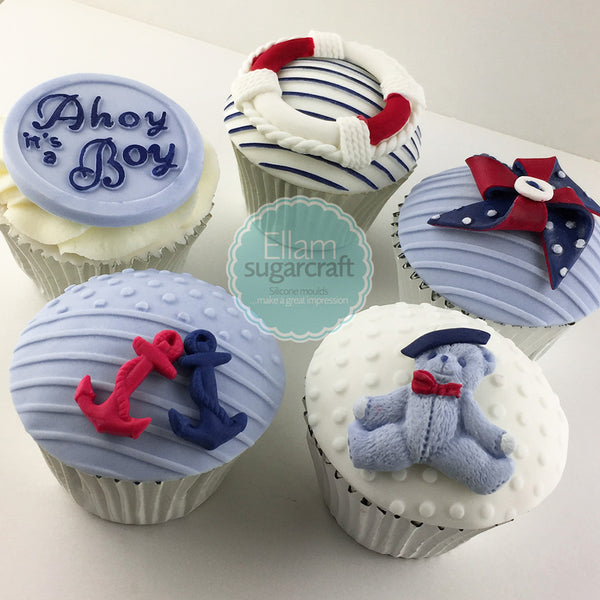 Ahoy it's a boy, christening nautical cupcakes cake, baby shower cupcake topper  Silicone Mould 58mm - Ellam Sugarcraft Moulds For Fondant Or Chocolate
