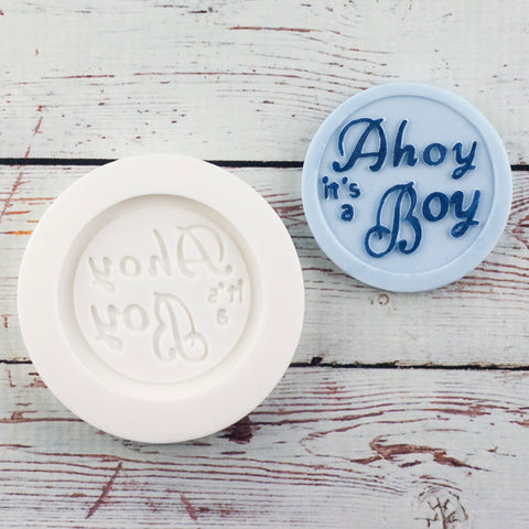 Ahoy it's a boy, 58mm round nautical christening baby shower cupcake topper