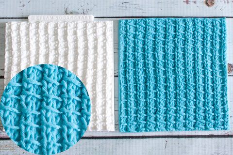 Bamboo Stitch Knit,  Knitted Texture Mat Silicone Mould - Ellam Sugarcraft Moulds For Fondant Or Chocolate