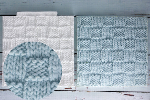 Basket Knit, Knitted Texture Mat Silicone Mould - Ellam Sugarcraft Moulds For Fondant Or Chocolate