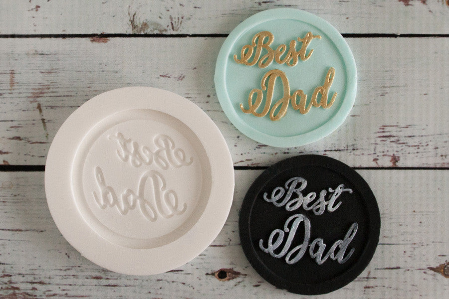 Best Dad Fathers Day cupcake topper 58mm Silicone cake cupcake craft Mould - Ellam Sugarcraft Moulds For Fondant Or Chocolate