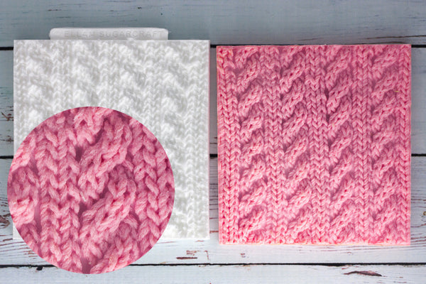 Cable Knit,  Knitted Texture Mat Silicone Mould - Ellam Sugarcraft Moulds For Fondant Or Chocolate