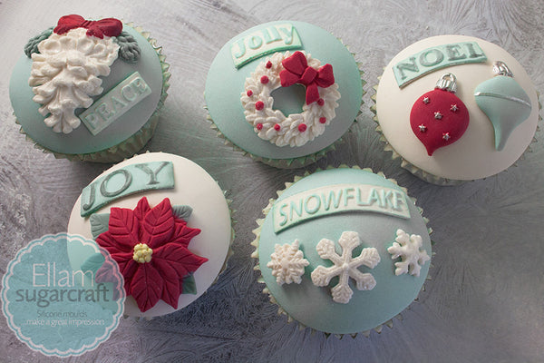 Grown up Christmas cupcakes- beautiful Christmas cupcakes-- Ellam Sugarcraft Moulds For Fondant Or Chocolate
