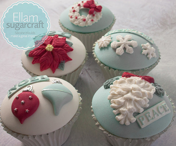 Elegant Christmas cupcakes poinsettia frosty cakes winter cupcakes - Ellam Sugarcraft Moulds For Fondant Or Chocolate