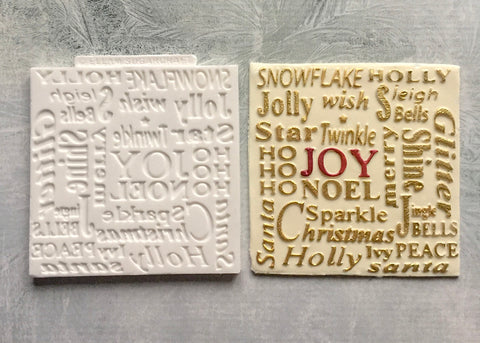 Christmas Word Cloud Silicone Texture Embossing cupcake cake craft Mat Mould - Ellam Sugarcraft Moulds For Fondant Or Chocolate