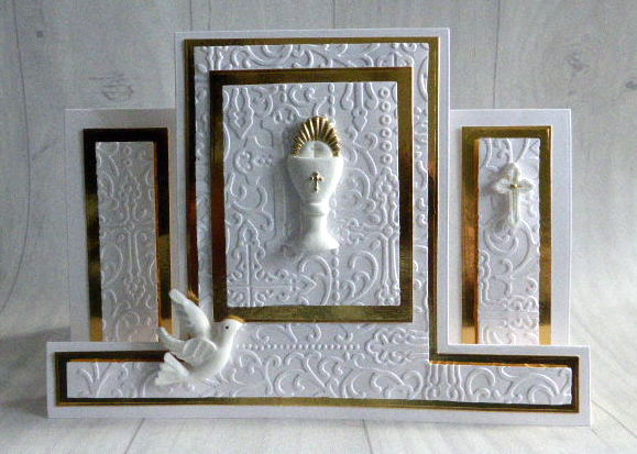 handmade communion card- embossed holy communion card