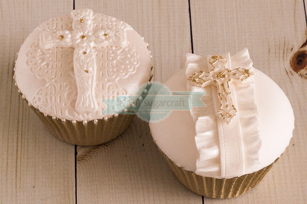 Communion cupcakes-, cross, crosses christening cupcakes Silicone Mould - Ellam Sugarcraft Moulds For Fondant Or Chocolate