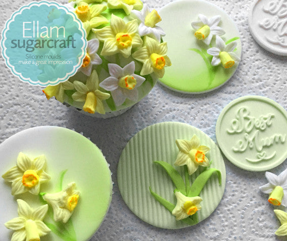 Easter Daffodil cupcakes- mothers day cupcakes- spring cupcakes  - Ellam Sugarcraft Moulds For Fondant Or Chocolate