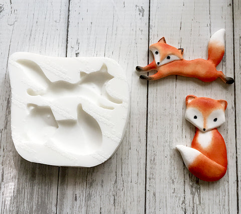 Hand sculpted  whimsical Foxes Silicone Mould