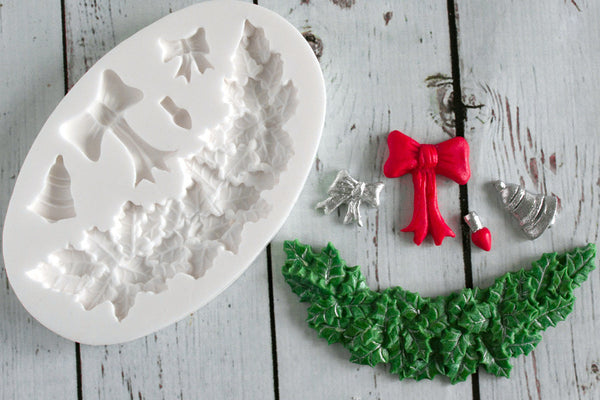 Christmas Swag Holly & Bows Garland Silicone cupcake cake craft Mould - Ellam Sugarcraft Moulds For Fondant Or Chocolate