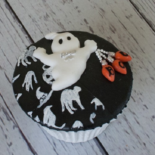 Halloween ghost elegant black and white cupcake - Ellam Sugarcraft Moulds For Fondant Or Chocolate