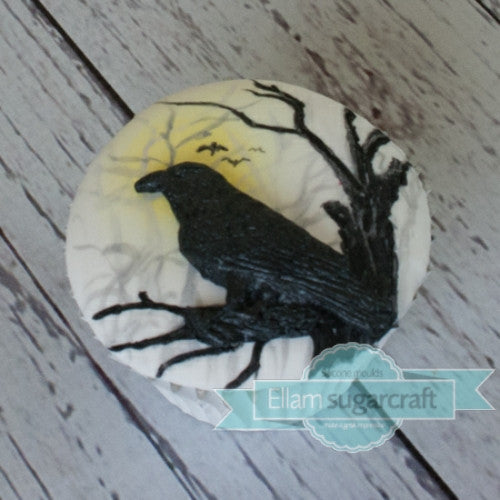 Gothic cupcake- Halloween Raven cupcake-, Crow silhouette cupcake - Ellam Sugarcraft Moulds For Fondant Or Chocolate
