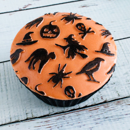 Embossed halloween orange and black cupcake - spooky orange cupcake - Ellam Sugarcraft Moulds For Fondant Or Chocolate