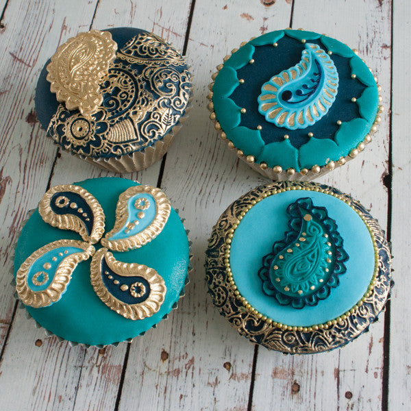 Paisley cupcakes- Bollywood cakes- henna cupcakes- Asian  - Ellam Sugarcraft Moulds For Fondant Or Chocolate