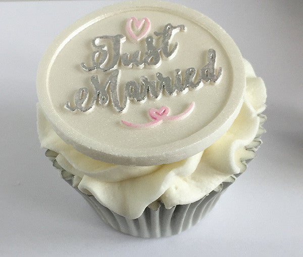 Just Married cupcake- wedding cupcakes-Silicone Mould - Ellam Sugarcraft Moulds For Fondant Or Chocolate