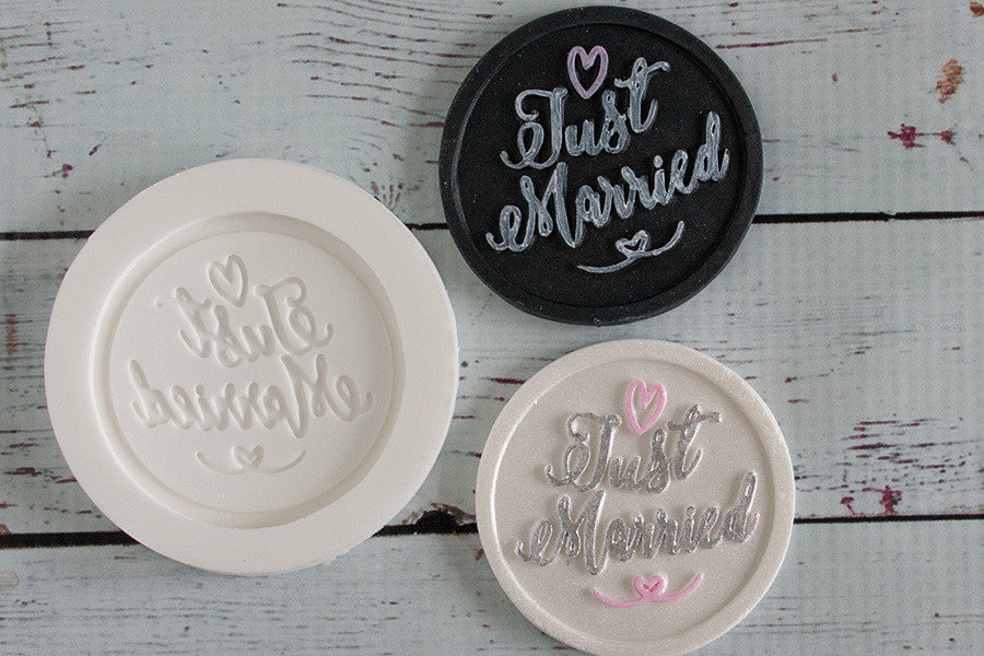 Just Married cupcake topper  Silicone cake craft  Mould - Ellam Sugarcraft Moulds For Fondant Or Chocolate