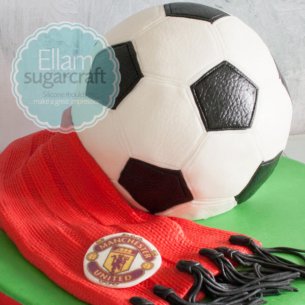 Leather football cake,  Manchester united football cake and knitted scarf - Ellam Sugarcraft Moulds For Fondant Or Chocolate