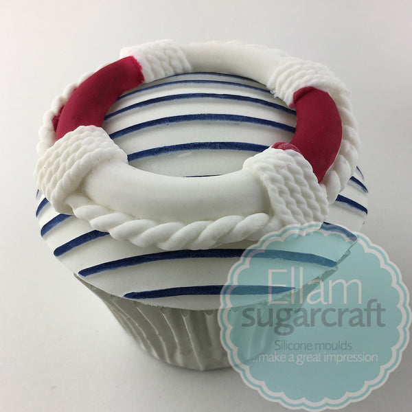 Nautical cupcake - lifebelt cake - nautical baby cake- Ellam Sugarcraft cupcake cake craft Moulds For Fondant Or Chocolate