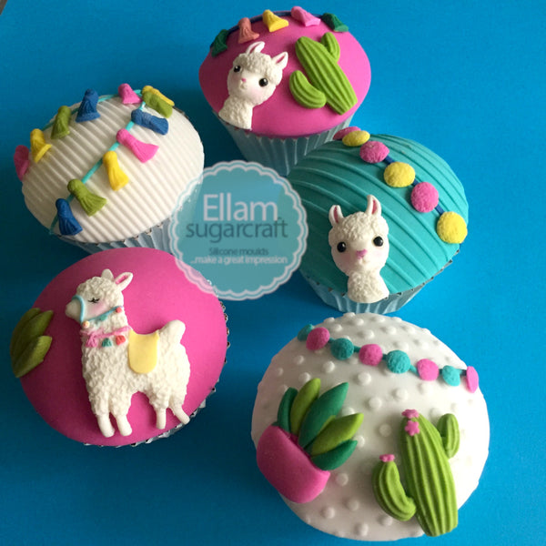 llama cupcakes, alpaca cupcakes - llama & cactus cupcakes  - Ellam Sugarcraft Moulds For Fondant Or Chocolate