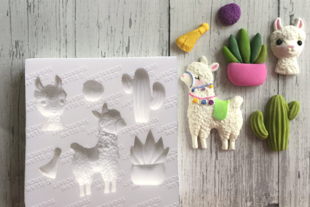 Hand Sculpted llama or alpaca & cactus fiesta cupcake cake craft mould - Ellam Sugarcraft Moulds For Fondant Or Chocolate