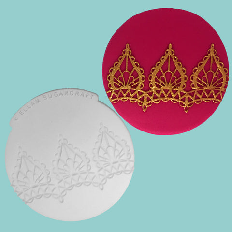 Mehndi inspired,  henna style cupcake embossing mat,  Silicone Mould (V1)