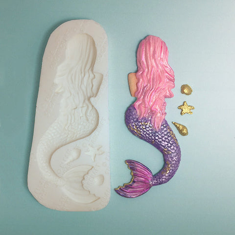 rear view mermaid silicone cake cupcake fondant chocolate polymer clay mould