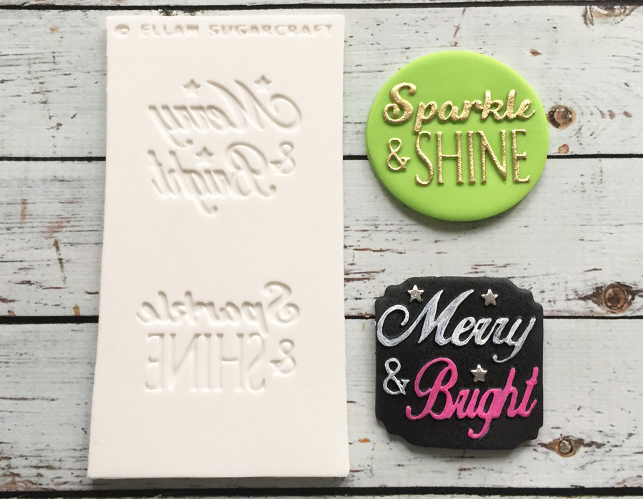 Sparkle &, Shine mould - Merry & Bright Christmas Embossing Mat - Ellam Sugarcraft cupcake cake craft Moulds For Fondant Or Chocolate