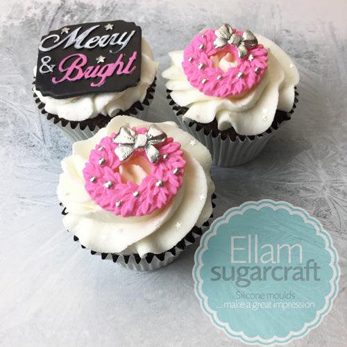 Christmas Wreath cupcakes- chalkboard cupcakes -merry and bright cupcakes- Ellam Sugarcraft Moulds For Fondant Or Chocolate