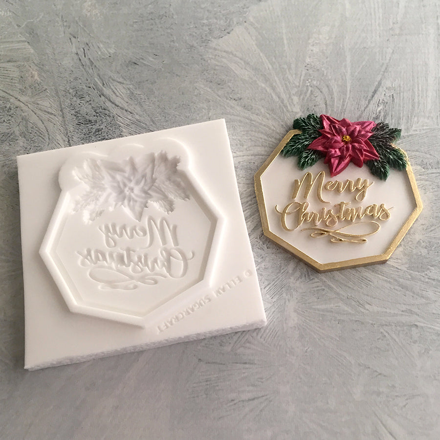 Merry Christmas Plaque, cupcake topper, gift tag Silicone Mould