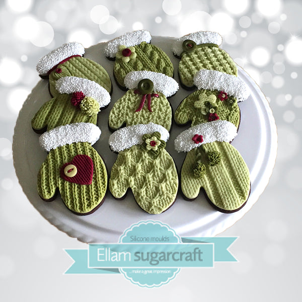 knit knitting textured festive Christmas mitten cookies by Ellam Sugarcraft