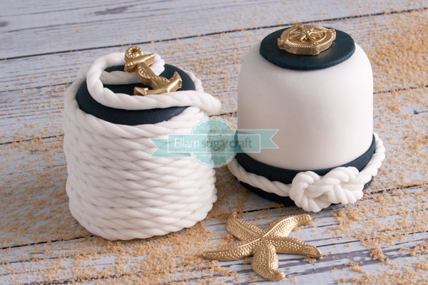 nautical mini cakes- nautical rope cupcakes- sailing cupcakes
