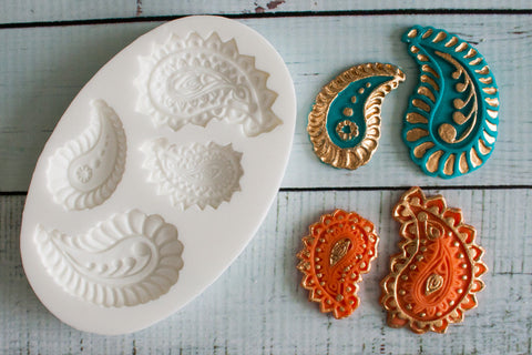 Handmade Paisley Motifs  Silicone Mould - Ellam Sugarcraft Moulds For Fondant Or Chocolate