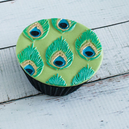 Peacock cupcakes- peacock feather cake- Ellam Sugarcraft Moulds For Fondant Or Chocolate