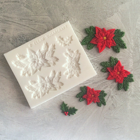 3 Christmas poinsettia and pine applique craft mould.