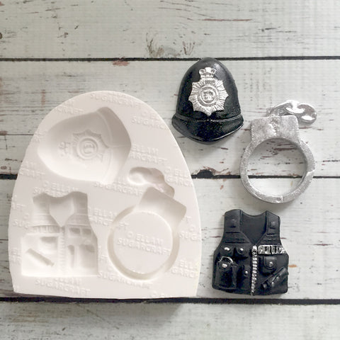 Police Helmet mould - , Handcuff Silicone Mould - hen party mould - Ellam Sugarcraft cupcake cake craft Moulds For Fondant Or Chocolate