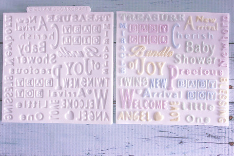 Baby Shower, Christening Word Cloud Silicone cake cupcake Texture Embossing Mat Mould - Ellam Sugarcraft Moulds For Fondant Or Chocolate