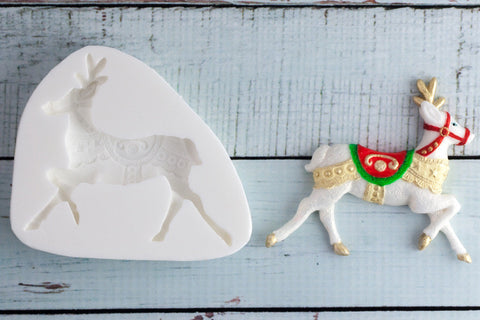 Decorative Christmas reindeer Silicone Mould - Ellam Sugarcraft Moulds For Fondant Or Chocolate