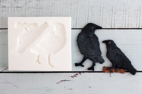 Halloween Raven cupcake mold, Crow Silicone Mould - raven mould- Ellam Sugarcraft cake Moulds For Fondant Or Chocolate
