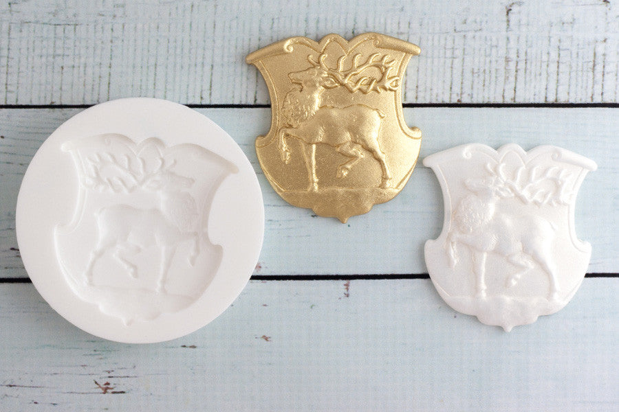 Reindeer Silicone Mould - stag mould- cake plaque mould - Ellam Sugarcraft cupcake cake craft Moulds For Fondant Or Chocolate
