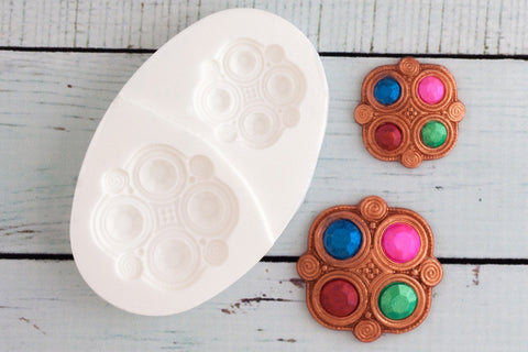 Celtic Style Jewelled Wedding Brooches Silicone Mould - Ellam Sugarcraft Moulds For Fondant Or Chocolate