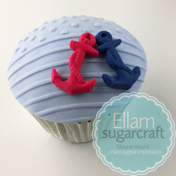 Nautical Yacht & Anchor cupcakes- nautical baby cakes - Ellam Sugarcraft Moulds For Fondant Or Chocolate
