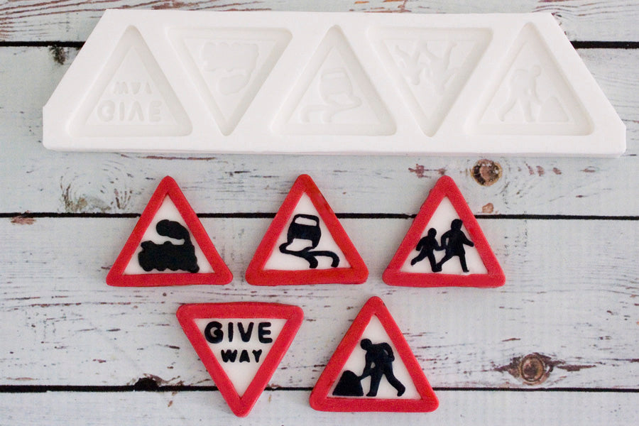 UK  Road Signs, Triangle Warning Sign  Silicone Mould by Ellam Sugarcraft - Ellam Sugarcraft Moulds For Fondant Or Chocolate