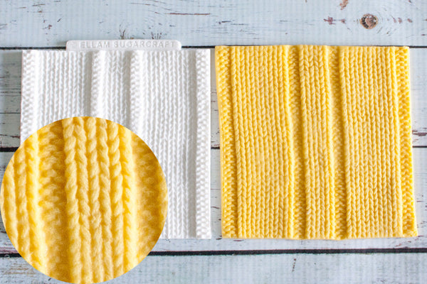 Uneven Rib Stitch Knit, knitted Texture Mat Silicone Mould - Ellam Sugarcraft Moulds For Fondant Or Chocolate