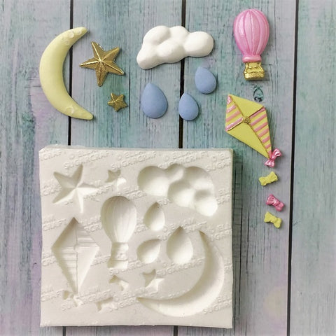 In the  Clouds, kite, hot air balloon, moon & stars, cloud and rain Silicone Mould fondant, chocolate cake craft mold